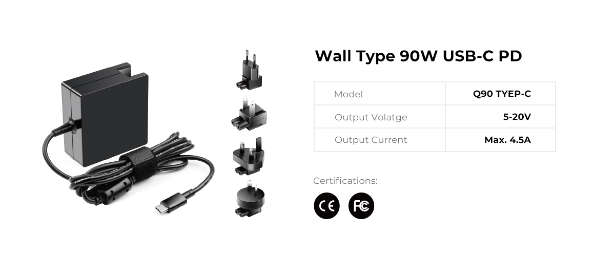 Wall Type Interchangeable 90W USB C PD Power Supply