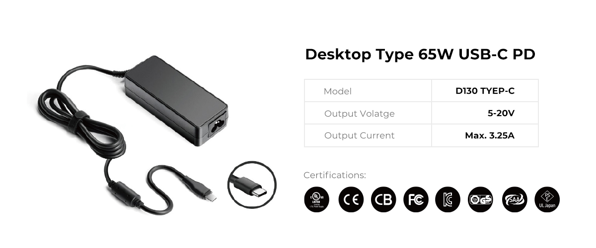 Desktop 65W USB C PD Power Supply