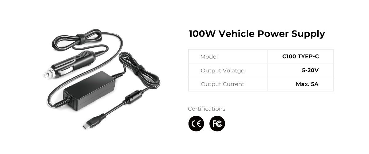 100W USB C Vehicle Power Adapter