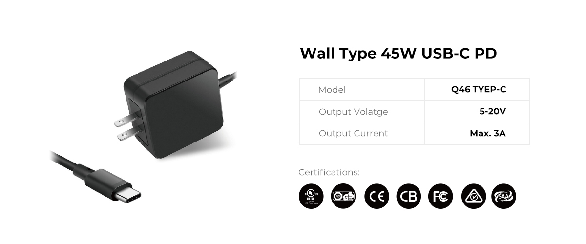 Wall Type 45W USB C PD Power Supply